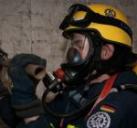 Grundausbildung für Atemschutzgeräteträger beim THW auf dem ܜbungsgelände in der Pionierstraße